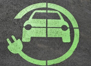 an image of a road marking of an electric car
