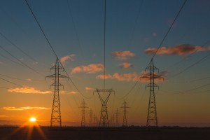 A picture of electric overhead power lines