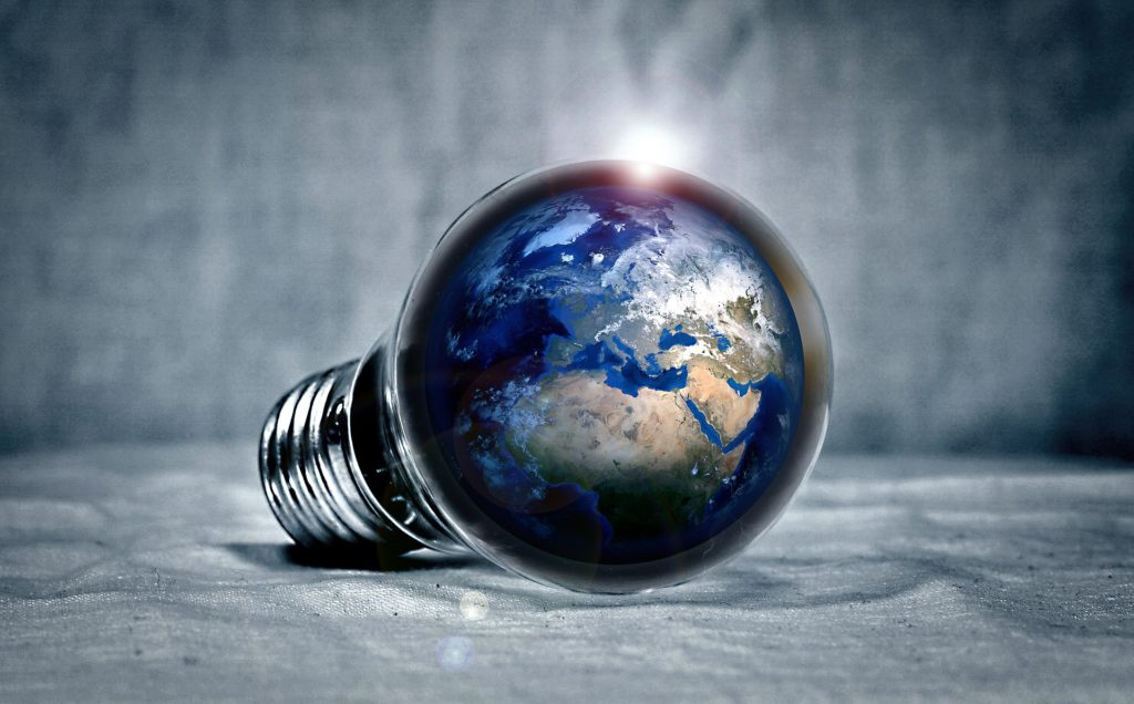 Light bulb with the earth inside