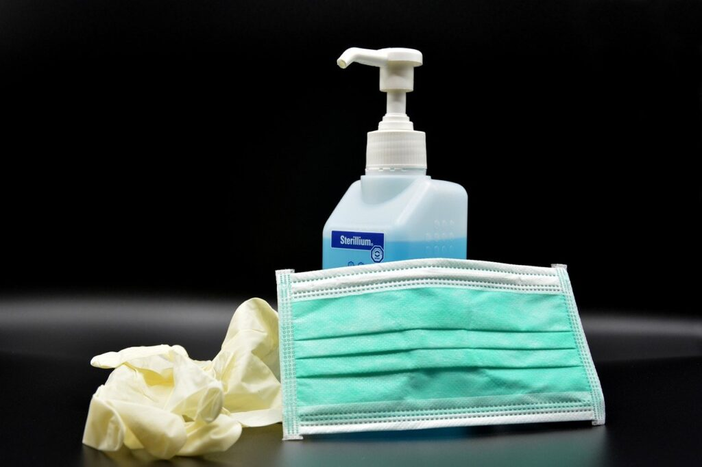 image of soap, face covering and gloves to ensure coronavirus safely precautions